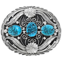 Natural Turquoise Sterling Silver Belt Buckle 19606