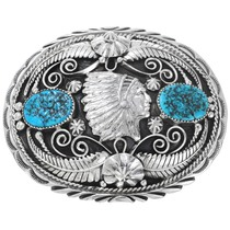 Native American Turquoise Indian Chief Belt Buckle 24389