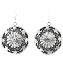 Native American Sterling Silver Concho Earrings 41128