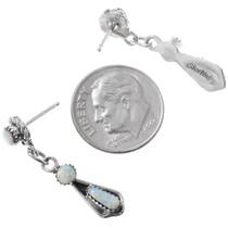 Zuni Made Sterling Silver Opal Dangle Earrings 41130