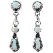 Zuni Three Stone Fiery Opal Earrings 41130