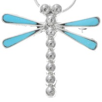 Zuni Turquoise Silver Dragonfly Pendant 41132