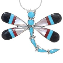 Zuni Turquoise Inlay Dragonfly Pendant 41136