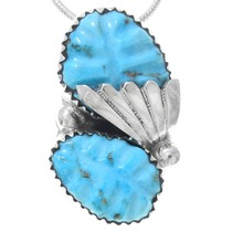 Carved Turquoise Native American Pendant 41137