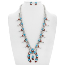 Zuni Turquoise Snake Design Squash Blossom Necklace 41138