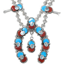 Sleeping Beauty Turquoise Coral Sterling Silver Zuni Squash Blossom 41138