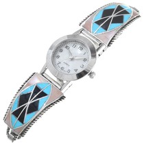 Turquoise Shell Inlay Sterling Silver Ladies Watch 41142