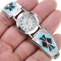 Zuni Geometric Inlay Turquoise Watch 41142