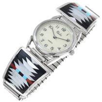 Zuni Geometric Turquoise Inlay Mens Watch 41143