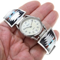 Shell Coral Turquoise Sterling Silver Zuni Watch 41143