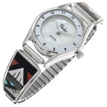 Zuni Sterling Silver Inlay Watch 41144