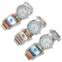 Colorful Gemstone Inlay Geometric Sunface Zuni Watch 41146