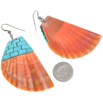 Native American Santo Domingo Spiny Oyster Turquoise Earrings 41147