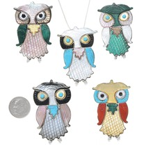 Colorful Gemstone Inlay Owl Pendant Sterling Brooch Pin 41148