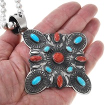Large Sterling Silver Spiny Oyster Turquoise Pendant 41152