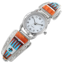 Sterling Silver Zuni Spiny Oyster Inlay Watch 41153