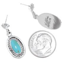 Sterling Silver Turquoise Earrings Artist Navajo Verley Betone Signed 41156
