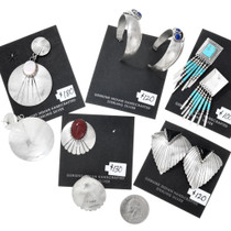 Authentic Native Made Sterling Silver Earrings Bundle 37282