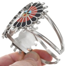 Hand Crafted Zuni Sunface Gemstone Inlay Bracelet 41162