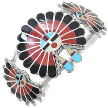 Coral Turquoise Inlay Sunface Kachina Bracelet 41162