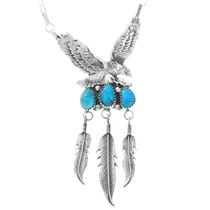 Turquoise Sterling Silver Eagle Necklace 41166