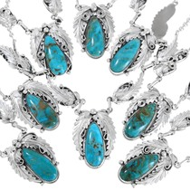 Natural Turquoise Mountain Turquoise Sterling Silver Necklaces 41167