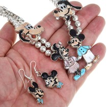 Zuni Turquoise Inlay Mickey Mouse Necklace 41168