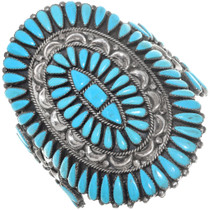 Old Pawn Petit Point Turquoise Cuff Bracelet 41169