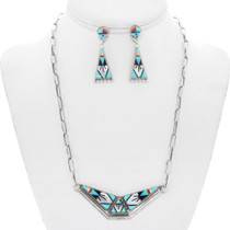 Turquoise Zuni Inlay Necklace Earrings Set 41171