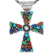Colorful Multistone Navajo Silver Cross Necklace 41172