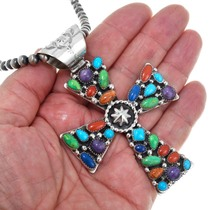 Sterling Silver Lapis Turquoise Cross Pendant 41172
