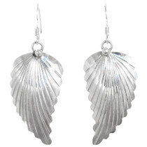 Native American Sterling Silver Leaf Earrings 41173