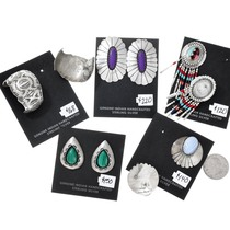 Sterling Silver Malachite Navajo Earrings Jobber Lot 37284
