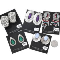 Vintage Large Sterling Native American Earrings 5 Pair Bundle 37284