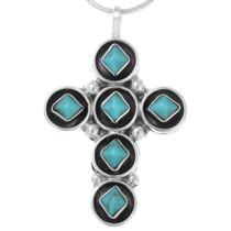Zuni Turquoise Silver Cross Pendant 41174