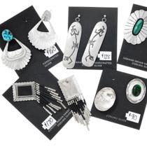 Navajo Sterling Silver Hopi Earrings Variety Turquoise Malachite Jobber Bundle 37286