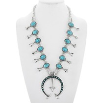 Navajo Spiderweb Turquoise Squash Blossom Necklace 41175