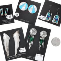 5 Pair Bundle Navajo Sterling and Zuni Inlay Earrings 37287