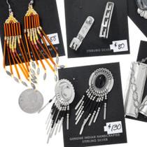 Beaded Sterling Silver Navajo and Hopi Earrings Five Pair Variety Set 37288