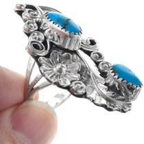Flower Leaf Design Turquoise Native American Ladies Ring