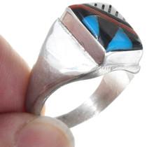 Zuni Geometric Inlay Shell Turquoise Ring 41185