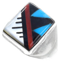 Turquoise Inlay Sterling Silver Mens Ring 41185