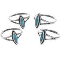 Petite Southwest Turquoise Silver Rings 41190