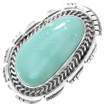 Navajo Sterling Silver Green Turquoise Ring 41192