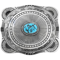 Natural Turquoise Sterling Silver Navajo Belt Buckle 41196