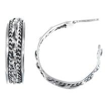Navajo Sterling Silver Hoop Earrings 41202