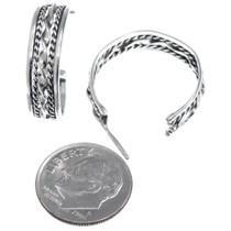 Twisted Wire J Hoop All Silver Native American Earrings 41202