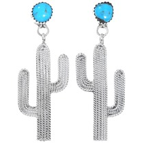Turquoise Sterling Silver Saguaro Cactus Earrings 41204