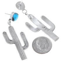 Navajo Silver Cactus Turquoise Earrings Western Jewelry 41204