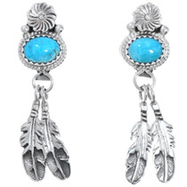 Turquoise Sterling Silver Feather Earrings 41205